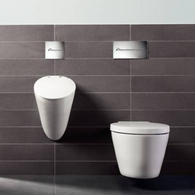 væghængt toilet sorte fliser smart design pissoir